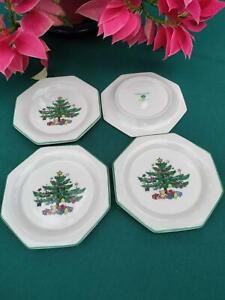 "NIKKO CHRISTMASTIME FOUR Octagon Coasters Snack Plates 4 1/2"" bone china NEW"