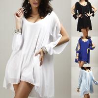 Ladies Womens Chiffon Long Sleeve Loose Casual Blouse Top Shirt Short Mini Dress