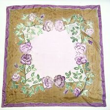 FLORAL PURPLE LARGE Foulard Silk Scarf Square 34 In