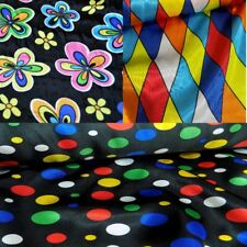 Printed Satin Polyester Dressmaking Costume Fabric, Harlequin, Spots, Flowers