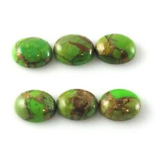15 PCS LOT AMAZING GREEN COPPER TURQUOISE 15X20 MM OVAL GEMSTONE LOOSE CABOCHON
