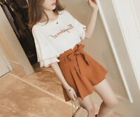 New Women girls Fashion Korean Women's Summer Chic Top + Shorts Casual Outfit