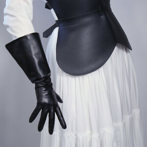 LONG GLOVES Unisex Faux Leather PU 38cm Wide Balloon Puff Sleeves Large White