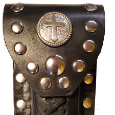 Buck 110 Leather Knife Case -  Silver Rope Edged Cross