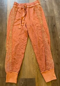 Free People Embroidered Tapered Jogger Pants Terracotta Brown S UK 8 BNWOT New