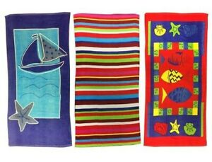 Kids Beach Towels 140cm x 70cm Boats Stripes Fish Seaside