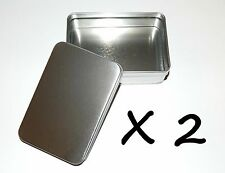 2 X 6-oz Rectangular Slip Lid Survival Metal Tin Can Container Box Use 4 Crafts
