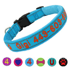 Personalised Embroidered Dog Collar Reflective Soft Fleece Touch Custom With ID