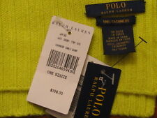 $198 POLO RALPH LAUREN Blue Label 100% Cashmere cable knit scarf  Neon Yellow OS