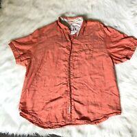 TOMMY BAHAMA Men's Size XXL  2XL Linen Short Sleeve Collared Shirt Orange Relax
