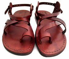 Brown Leather Roman Gladiator Jesus Sandals Strap Handmade US (5-16) EU(36-50)