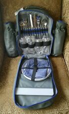 Picnic Backpack 4 Person Set Wine, Dinner, Drink Insulator, Plates & Silverware