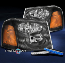 FOR 2002-2009 GMC ENVOY XL XUV REPLACEMENT BLACK HEADLIGHT +BUMPER BLUE LED DRL