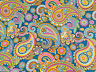 BLUE PAISLEY Upholstery Curtain Cotton Fabric Material - DOUBLE WIDTH 280cm wide
