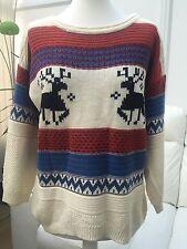 mujer crema Reno De Navidad Jersey Suéter Talla M/L