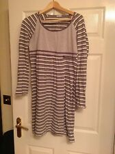 Benetton long sleeve grey stripes night gown, size L