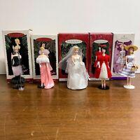 Vintage Barbie Doll Hall Mark Keepsake Ornament Lot of 5