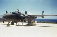 USAAF B-25 Strafer 345th BG Ieshima Okinawa 1945 1 COLOR SLIDE No Photo