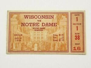 WISCONSIN at  NOTRE DAME - COLLEGE FOOTBALL TICKET - 1934