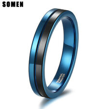 4mm Two Tone Groove Tungsten Carbide Ring Men/Women Couple Wedding Jewelry Bands