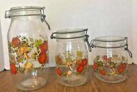 Vintage Arc Spice of Life Glass Canister Jar Set Mushroom Tomato Made In France