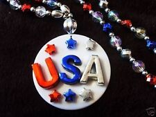 "Patriotic ""U S A"" Mardi Gras Fancy Red-White-Blue Necklace Bead Stars (B687)"