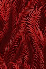 Fabric #2526, Red Fern Leaves on Black, Jason Yenter, IBF, Sold by 1/2 Yard