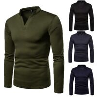 Men Thermal Underwear Long Vest Long Sleeve Top Ski Warm Winter Pullover T-shirt