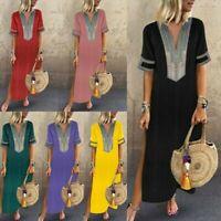 Women Boho Casual Loose Maxi Dress Paisley Kaftan Short Sleeve Ladies Long Dress