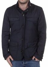 Paul & Shark Mens Jacket Navy with Beige Leather Suede Detail SZ X-Large 44/54