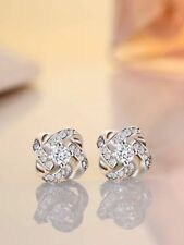 0.50 Carat Round Diamond Sparkling Star Earrings in 18K White Gold