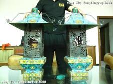 24 Chinese Royal Bronze Copper cloisonne Enamel lighthouse Palace lantern Pair