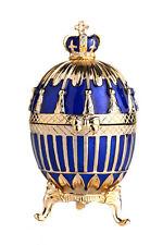 Faberge Egg Trinket Jewel Box with Russian Emperor's Crown 3.3'' (8.5cm) blue