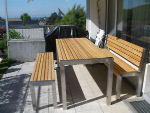 Gartenmöbel Edelstahl Lärche :Tisch 76x200cm,1 Bank mit Lehne, 1Bank ohne Lehne