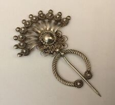 VINTAGE SILVER ANTIQUE MOROCCAN ? BERBER FILIGREE FIBULA BROOCH CLOAK PIN
