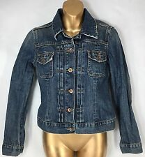 Distressed Denim Jean Jacket Medium Wash Cotton Trucker Women's Size Small S