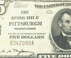*** BROWN SEAL TYPE I *** 1929 $5 NATIONAL CURRENCY *** ALMOST UNCIRCULATED ***
