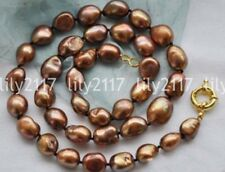 """17/"""" 10mm round coffee freshwater pearl beads string necklace magnet clasp j12690"""
