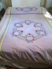 Unusual Vintage Hand Embroidered Fringed Bohemian Looking Bedspread