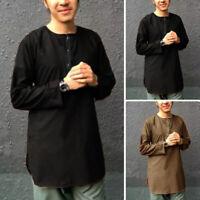 Mens Kurta Shirt Top Tunic Indian V NECK Kurta Short Kaftan T shirt Dress Shirts