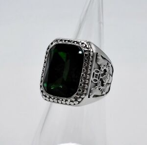 MEN RING EMERALD STAINLESS STEEL SILVER SQUARE MEDIEVAL BISHOP POPE VTG SIZE 10
