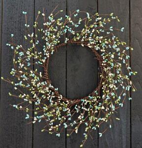 "Pip Berry Wreath 14"" Outside / 6"" Inside Dia - Seabreeze - Blue Green Ivory"