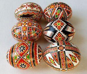 6 Real Ukrainian hand made Pysanky Easter Eggs Ukraine Pisanki Pysanka egg shell