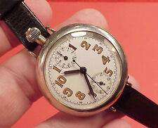 Rare 1915 Military Ed Heur Sterling Single Button Chronograph Wristwatch #8544