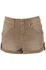 Topshop Moto Camel High Waisted Hot Pants Shorts UK 10 EURO 38 US 6 W28 RRP £32