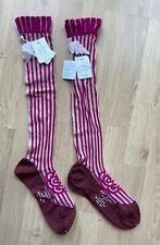 Antipast Wool Bland Magenta Striped  Victorian Rose Detail Knee Length Socks X2