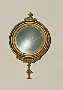 1:12 Scale Miniature Round Ornate Gilt Metal Mirror