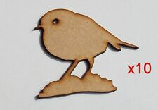 Pack of 10 ~ 50mm High HQ MDF not just for Christmas Robins 3mm embelishment #01