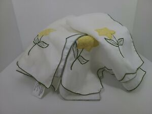 Blossoms & Blooms Cloth Napkins with Yellow Flowers Set of 3