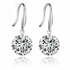 Zirconia Drop 925 Sterling Silver With White Gold Plated Hook Earrings